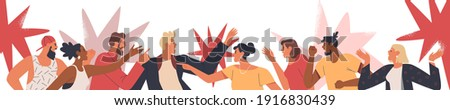 Diverse group of angry people having an argument or heated discussion concept. Big flat cartoon character crowd on isolated background. Men and women in confrontation, fighting or in disagreement.