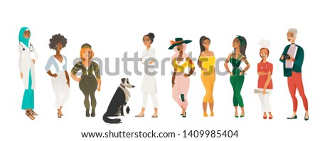 Diverse group of beautiful women - cartoon characters with different outfits, bodies, sizes and ethnicities standing together, female diversity - flat vector illustration isolated on white background
