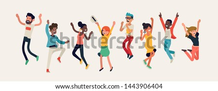 Diverse group of happy people jumping. Cheerful multinational and multiracial people celebrating together. Flat vector winning characters collection