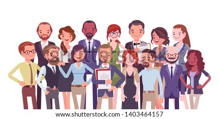 Diverse group of people. Members of different nations, various age, sex, jobs standing together for common work, social interaction. Vector flat style cartoon illustration isolated on white background