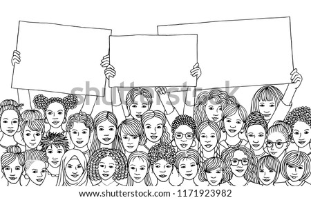 Diverse group of women holding empty signs, black and white illustration