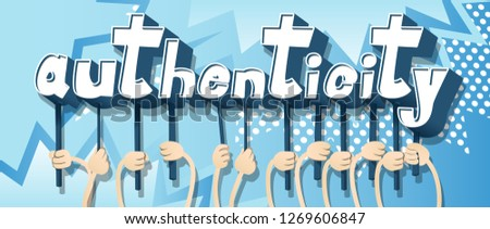 Diverse hands holding letters of the alphabet created the word Authenticity. Vector illustration.