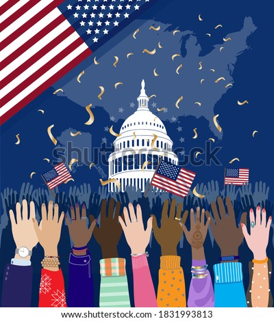 Diverse hands raised up, people gathering at Capitol building Washington D.C., celebrating USA Presidential Inauguration Day, Constitution Day or US Independence Day. American flag, map. Vector banner