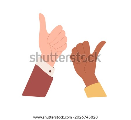 Diverse human hands with thumb up. Positive like and OK gesture, expressing satisfaction, agreement and approval. Good feedback concept. Flat vector illustration isolated on white background