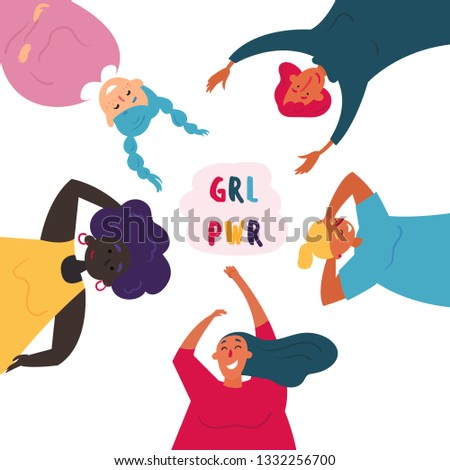 Diverse international and interracial group of women in circle. For girls power concept, feminine and feminism ideas, woman empowerment and role cards. Redhead, black and white. Motivational poster