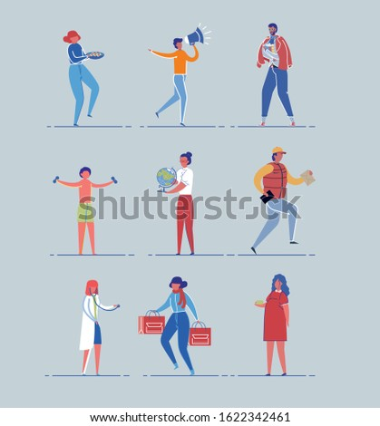 Diverse Male, Female - Occupations, Ages and Gender Set. Employed in Different Professions and Children Casual Activity and Lifestyle People Cartoon Characters. FLat Vector Illustrations Isolated.