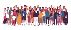 Diverse multiracial and multicultural group of people isolated on white background. Happy old and young men, women and children standing together. Social diversity. Flat cartoon vector illustration.
