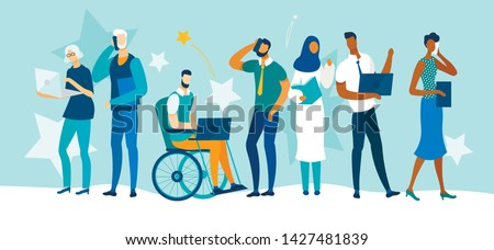 Diverse Multiracial and Multicultural People of Different Ages and Gender, Healthy and Disabled Characters Stand in Raw with Gadgets. Young and Old Business People. Cartoon Flat Vector Illustration