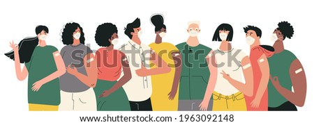 Diverse people after vaccination concept Vaccine injection in arm, shoulder. Set of multiracial character after getting vaccine. Group of humans in face mask. Multicultural team, unity in diversity
