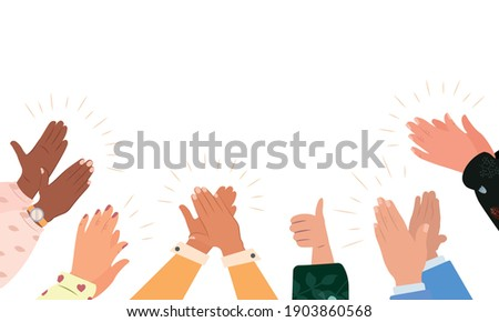 Diverse people applauding vector illustration. Colorful men and women clapping hands isolated on white background. Multinational audience demonstrate greeting, ovation or cheering gesture, support.