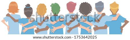 Diverse people arms around each other's shoulders from behind. Concept of teamwork or friendship. Vector illustration in flat cartoon style. Stock photo ©