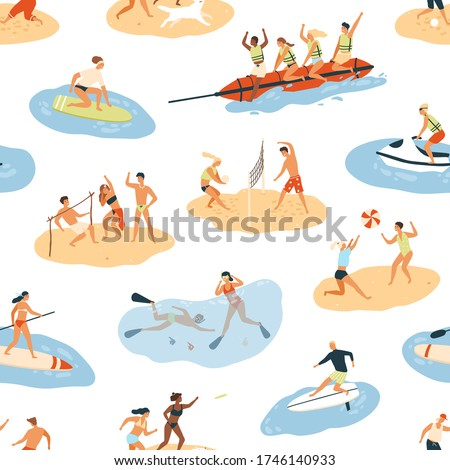 Diverse people enjoying summer outdoor activity seamless pattern. Happy man and woman having leisure at beach, in sea or ocean vector flat illustration. Person resting, doing sports and having fun