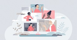 Diverse people online call as distant web video meeting tiny person concept. Communication using internet and conference talking platforms vector illustration. Social discussion and live conversation.