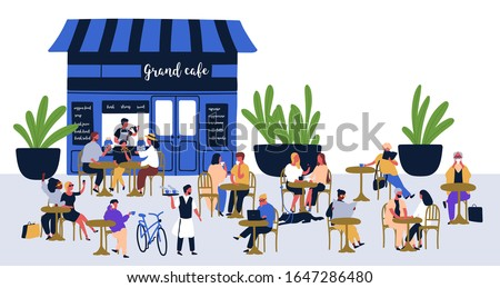 Diverse people visitors sitting at street cafe vector flat illustration. Relaxed cartoon characters at outdoor cafeteria isolated on white. Summer colorful restaurant with men, women and children