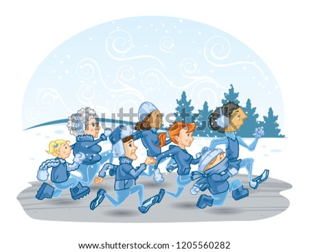 Stock Photo Diverse People Winter Fun Run