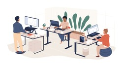 Diverse people working at contemporary workspace vector flat illustration. Man and woman employees at modern area with ergonomic furniture and computers isolated. Modern coworking openspace