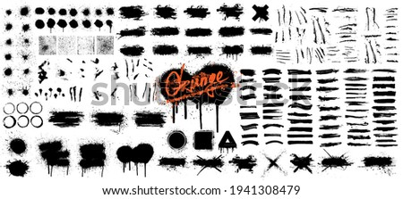 Diverse set of black paint - ink brush strokes, brushes, lines, spray, ink splash , mud and other Dirty artistic design elements. Spray graffiti stencil template ink brush strokes, lines. Vector set