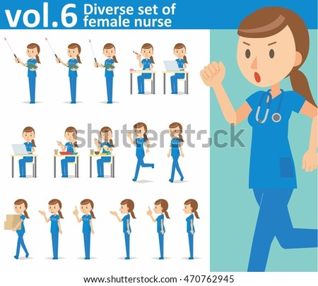 Diverse set of female nurse on white background , vector format vol.6