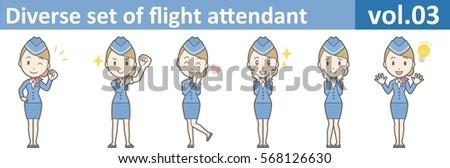 Diverse set of flight attendant, EPS10 vol.03