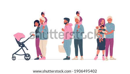 Diverse set of gay, lesbian and transgender couples. International homosexual family whith baby. Cartoon flat vector illustration. Stockfoto ©