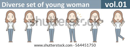 Diverse set of young woman, EPS10 vol.01 (A young woman in white T-shirt and jeans) Stock fotó ©