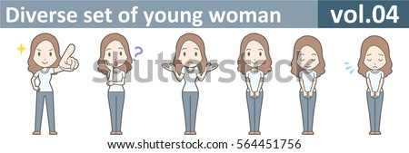 Diverse set of young woman, EPS10 vol.04 (A young woman in white T-shirt and jeans) Stock fotó ©