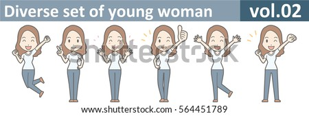 Diverse set of young woman, EPS10 vol.02 (A young woman in white T-shirt and jeans) Stock fotó ©