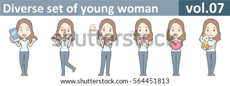 Diverse set of young woman, EPS10 vol.07 (A young woman in white T-shirt and jeans) Stock fotó ©