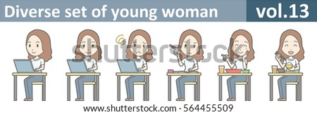 Diverse set of young woman, EPS10 vol.13 (A young woman in white T-shirt and jeans) Stock fotó ©