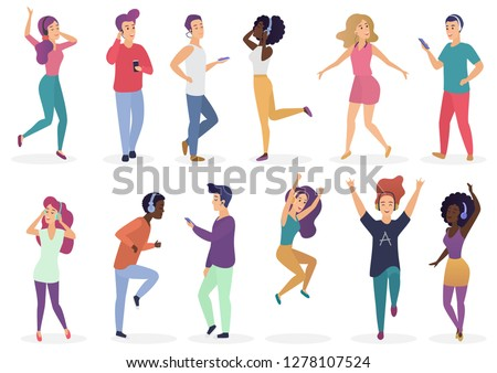 Diverse tiny people dancing and listening music with headphones. Cartoon young guys and girls in casual clothes with audio players vector Illustration set.