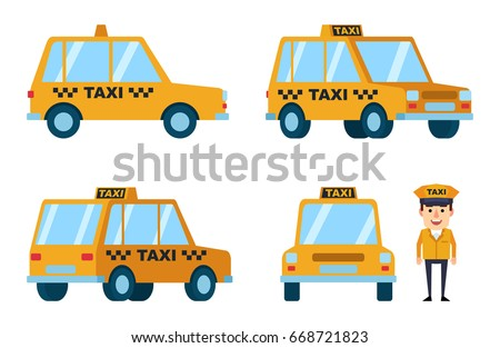 Diverse views of taxi car. Funny taxi driver standing near car.  Simple vector illustration