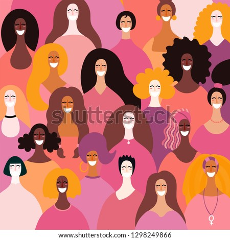 Diverse women faces background. Hand drawn vector illustration. Flat style design. Concept, element for feminism, girl power, womens day card, poster, banner.