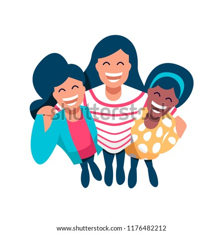 Diverse women friend group of girls hugging together for special event. Girl team hug from top view on isolated background with copy space. EPS10 vector.