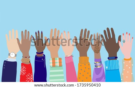 Diverse young people hands, male,  female, multicultural group, multi ethnic team, cultural diversity concept. Men, women raise arms, celebration, friendship, vote. Flat vector isolated on background.