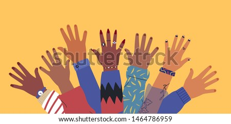 Diverse young people hands on isolated background. Teenager hand group with raised arm for celebration or friend community concept. Flat cartoon illustration of men and women arms.