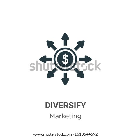 Diversify glyph icon vector on white background. Flat vector diversify icon symbol sign from modern marketing collection for mobile concept and web apps design. Stock photo ©