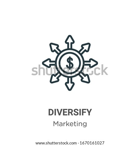 Diversify outline vector icon. Thin line black diversify icon, flat vector simple element illustration from editable marketing concept isolated stroke on white background Stock photo ©