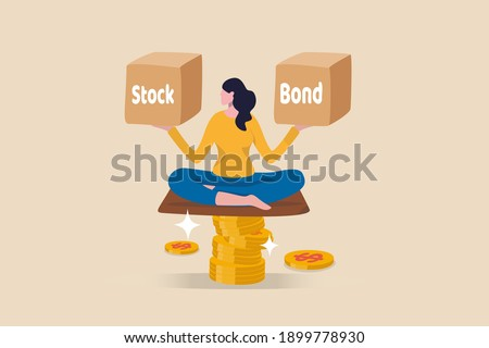 Diversify portfolio investment, rebalance between stocks and bonds, passive invest wealth accumulate concept, intelligent woman keep calm sitting on stack of money coins balancing stock and bond boxes Foto stock ©