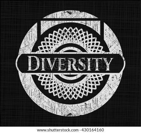Diversity chalk emblem written on a blackboard