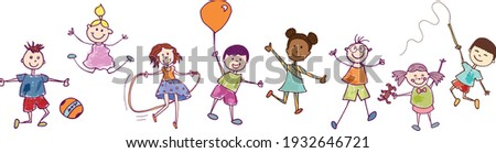 Diversity group of happy sweet kids in action playing and jumping. Kindergarten. Preschool. Funny active and joyful smiling children with cute clothes. Stylized drawing. Vignetting ink Stockfoto ©