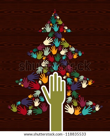 Diversity multi-colored Christmas Tree hands background for greeting card. Vector illustration layered for easy manipulation and custom coloring.