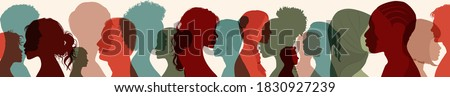 Diversity multiethnic people. Group side silhouette men and women of different culture and different countries. Coexistence harmony and multicultural community integration. Racial equality