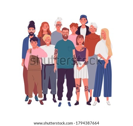 Diversity of people in modern society. Crowd of different men, women, kids, teenagers. Old, aged, elderly, multinational community. Flat vector cartoon illustration isolated on white background