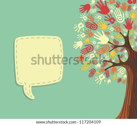 diversity policy template - diversity tree hands illustration with blank for text