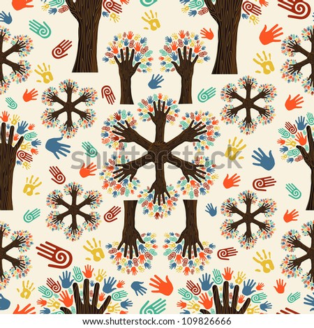 Diversity tree hands seamless pattern. Vector illustration layered for easy manipulation and custom coloring.