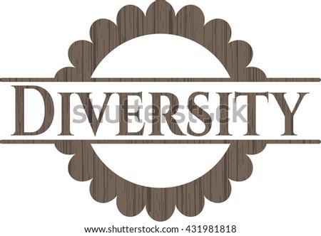 Diversity wooden emblem. Vintage.