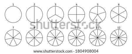 Divide circle. Black segment element. Vector round 12 section.