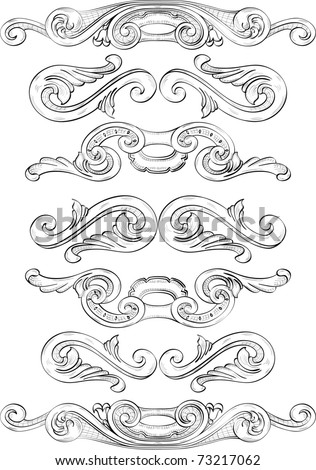Divide elements drawn in engrave technique. All in separate layers