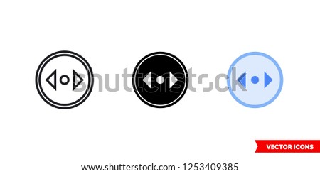 Divide horizontal direction icon of 3 types: color, black and white, outline. Isolated vector sign symbol.