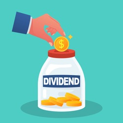 Dividend concept. Improve profit. Man puts a gold coin in the box. Dollar coins in the bank. Vector illustration flat design. Investment stock market. Save up money.
